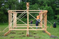 Photo - building the wooden structure shared by RS and SEDA during the Big Tent festival 2007