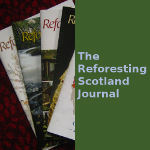 Photo of several issues of the Reforesting Scotland Journal, alongside a text label saying 'The Reforesting Scotland Journal'